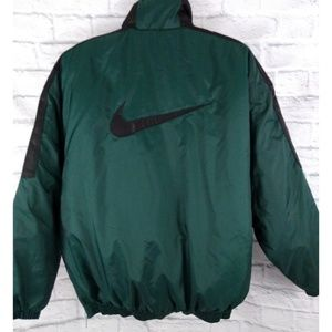 Vintage 90's Nike Big Swoosh Puffer Jacket Green L
